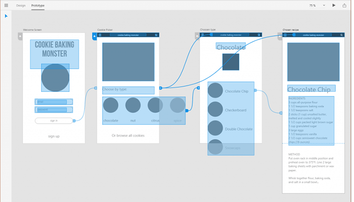 Wireframe or design of the app